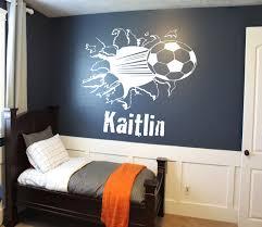 custom soccer ball bursting through wall decal custom sports