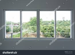 White Wall by Glass Window Sliding On White Wall Stock Photo 478874686