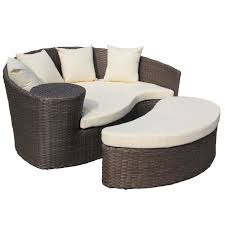 Wicker Sofa Bed by Brown Rattan Curved Day Bed Sofa Footstool Saga Garden Centre