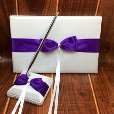 purple wedding guest book 4pcs set satin purple ribbon bowknot wedding ring pillow and
