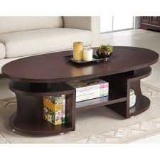 bushwick myrtle modern elliptical multi shelf walnut coffee table