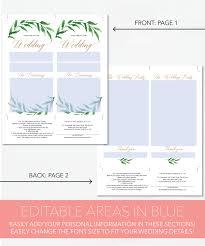 sided wedding programs creative union design greenery printable wedding programs