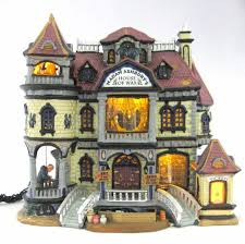 halloween collectables retired lemax spooky town house of wax factory lighted u0026 animated