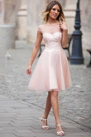 light pink knee length dress cap sleeved illusion neck knee length pink tulle prom dress idress