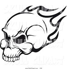 vector clip of a flying black and white flaming skull logo by