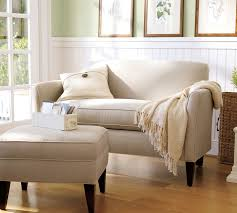 Sofa With Ottoman by Marcel Upholstered Mini Sofa Pottery Barn