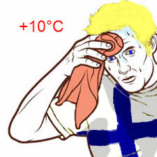 Suomi Memes - heat wave finnish version sweating towel guy know your meme