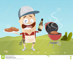 funny beer cartoon funny cartoon man with grill steaks and beer stock vector image