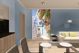 Dining Room Murals Murals Santorini Street With Flowers