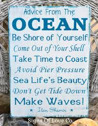 advice from the ocean wood sign make waves hand painted beach