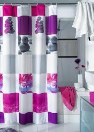 Modern Bathroom Modern Shower Curtain With Colorful Lines In Sleek Bathroom