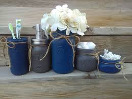 Navy Bathroom Decor by Navy Bathroom Decor Navy And Gray Mason Jar Bathroom Set