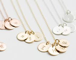 personalized initial necklaces hammered gold disc necklace personalized initial tag