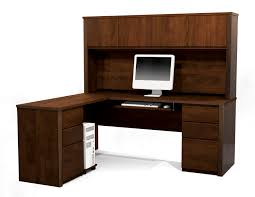 Wood Computer Desks by L Shaped Dark Brown Stained Wooden Computer Desk Aas Work Station