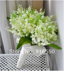 of the valley bouquet artificial of the valley green and white silk bouquet