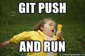 Girl Running Meme - git push and run little girl running away meme generator