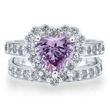 engagement jewelry sets sterling silver heart shaped purple cubic zirconia cz halo heart