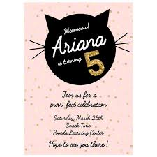 pink birthday black kitten themed birthday invitation u2013 pepa prints