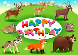 happy birthday card with mountain animals stock vector image