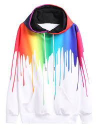 shop multicolor paint drip drawstring hooded sweatshirt online
