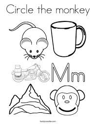 circle the monkey coloring page twisty noodle