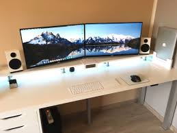 Desk For Dual Monitor Setup Desk Wooden Gaming Desk Blueprints Wonderful Gaming Station