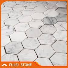 cheap price bianco carrara marble white hexagon mosaic floor tile