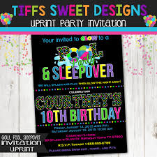pool party glow party sleepover party birthday invitation