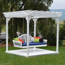 pergola w deck twin hanging swing bed amish made cedar wood yard