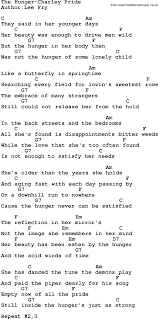 country the hunger pride lyrics and chords