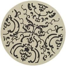 Black Round Rug Shop Safavieh Courtyard Damask Medallion Sand Black Round Indoor