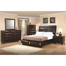 Tangies Kitchen Upholstered Platform Bed With Storage Brown Upholstered Platform