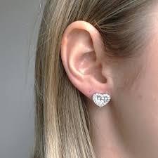 gold earrings in shape heart shaped diamond earrings new wave jewellery
