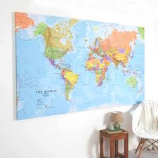 Trinidad World Map by Giant Canvas World Map By Maps International Notonthehighstreet Com