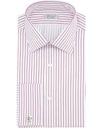 charvet satin stripe french cuff dress shirt in red for men lyst