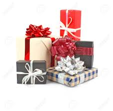 gift boxes with ribbon and bow on white