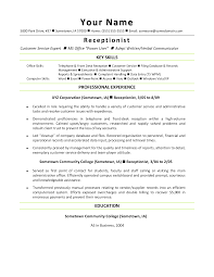Resume Objective Receptionist Effective Resume Samples For Receptionist Position Eager World