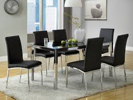 Glass Dining Tables And 6 Chairs Remarkable Modern Black Chrome Glass Top Dining Table Set 6