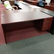Computer Desk San Diego Office Desk Straight Mahogany 2 Drawer Computer Workstation U2013 Used