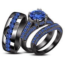 blue wedding rings sapphire 18k black gold 925 silver engagement wedding band