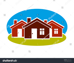 simple houses district conceptual vector illustration three simple stock vector