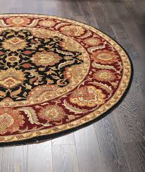 Round Wool Rugs Uk by Rugsville Masterpiece Round Floral Persian Black Rust Wool Rug