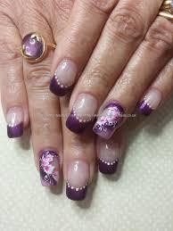 cuccio purple gel polish with one stroke flower nail art jewelry