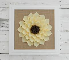 Home Decor With Burlap Large Framed Felt Flower With Burlap Flower Wall Hanging Burlap