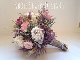 Shabby Chic Wedding Bouquets by Wedding Dried Bridal Party Bouquets Dried Flowers Shabby