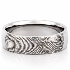 mens wedding rings fingerprint wedding band men s fingerprint on outside of wedding