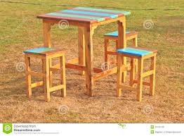 Wooden Table And Chairs Outdoor Wooden Table And Chairs In Garden Royalty Free Stock Photos