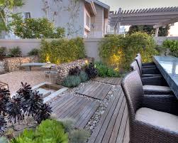 garten terrasse ideen terrassen ideen garten holz kies gabionen bambuspflanzen essmöbel