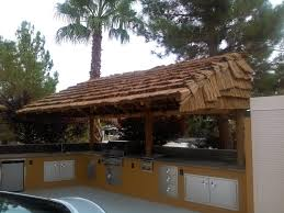 cantilevered african reed palapa and outdoor kitchen palapas
