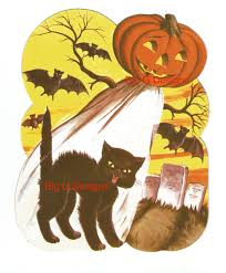 vintage halloween die cut decoration bat black cat jol pumpkin